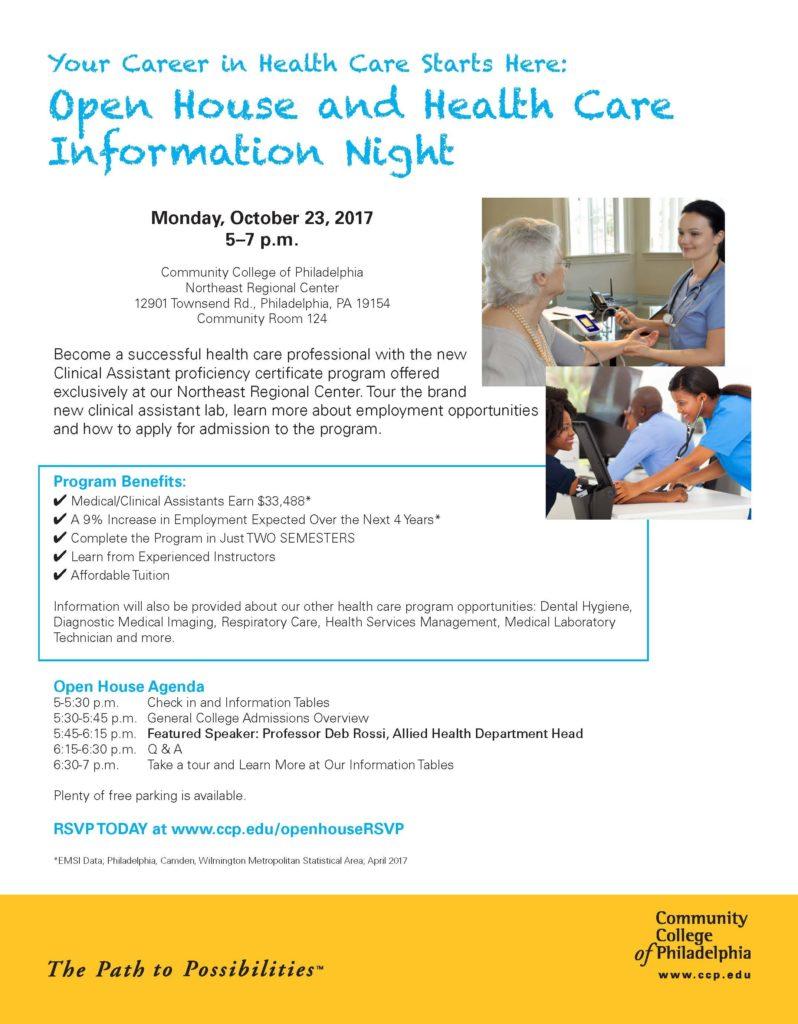 CCP Open House & Health Care Information NightGraduate Philadelphia!